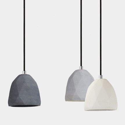 diamond raw concrete pendant light