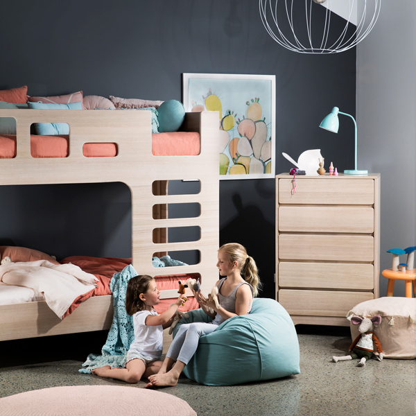 scoop bunk bed single - white wash