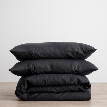 Linen Duvet Cover Set - Black