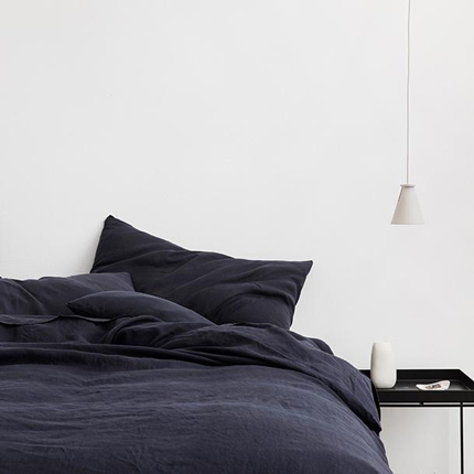 Linen Duvet Cover Set - Navy