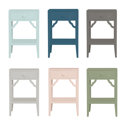 petite rouge bedside table - colour options