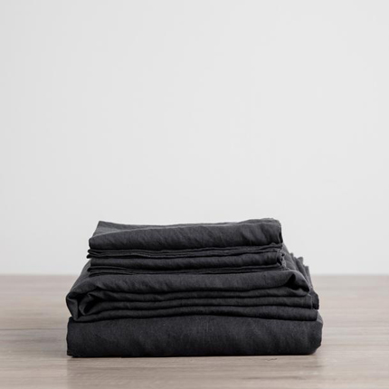 Linen Sheet Set - Black
