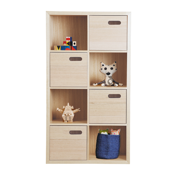 scoop bookcase 8 cube vertical - stain