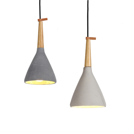timber raw concrete pendant light