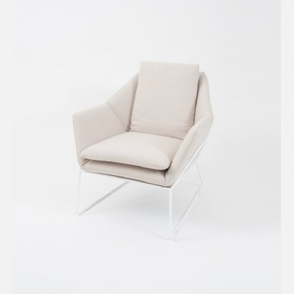 Boden Armchair Light Beige - White Frame