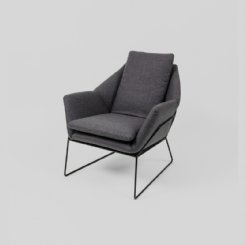 Boden Armchair Grey - Black Frame