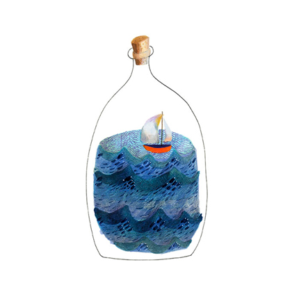 Boat in a Bottle Print