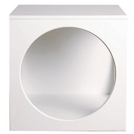 circle bedside table - white