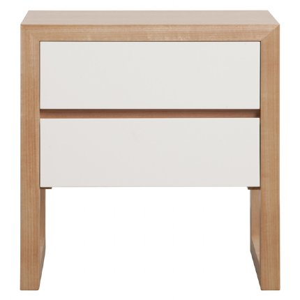 colour box bedside table 2 drawer - white & natural