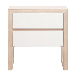 colour box bedside table 2 drawer - whitewash & white