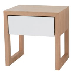 colour box bedside table - white & natural