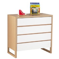 colour box chest of drawers - white & natural