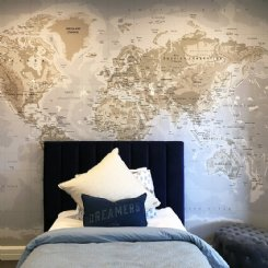 Denim World Map Mural