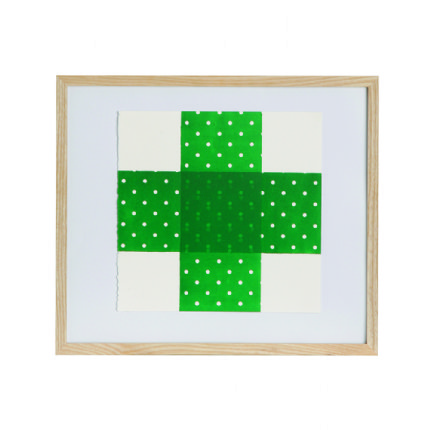 Bandaid Cross Print 43cmW x 43cmH - Green