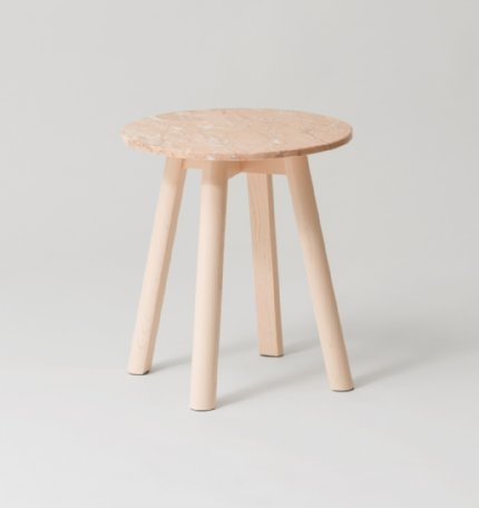 enkel marble side table - powder
