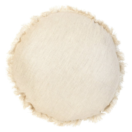 Belgian Linen Round Cushion - Natural Shimmer