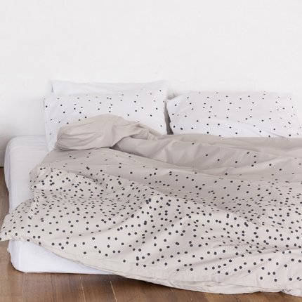 Charcoal Dots on Grey Doona / Pillowcase set - Single / Seconds