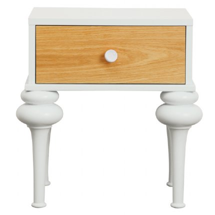 florentine bedside table - white & natural