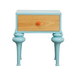 florentine bedside table - aqua & natural