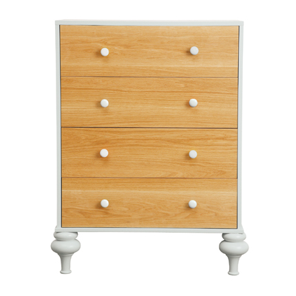 florentine chest of drawers - white & natural