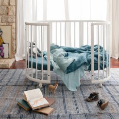 French Flax Linen Cot Duvet - Storm blue/marine