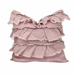 linen layer frill cushion - mushroom pink