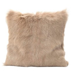 petra goat fur cushion cream