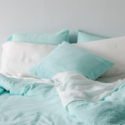 Belgian Linen European Pillowcase - Aqua