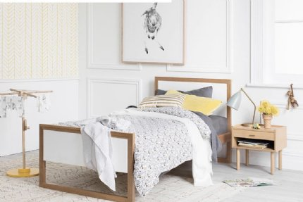 colour box bed single - white & natural