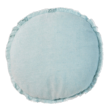 Belgian Linen Round Cushion - Light Blue
