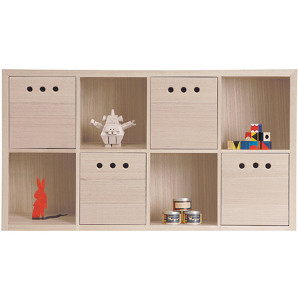 marina bookcase 8 cube - horizontal - White Wash