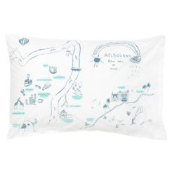 Melbourne Map Pillowcase - Storm Blue & Mint