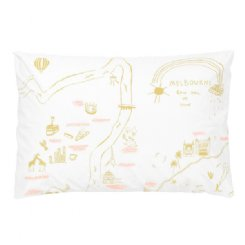Melbourne Map Pillowcase - Mustard & Pink