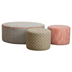 Fabric Ottoman with Piping
