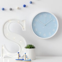Pale Blue Wall Clock
