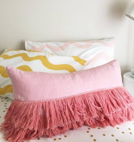 Fringe Linen Bolster Cushion - Pink - EX-DISPLAY