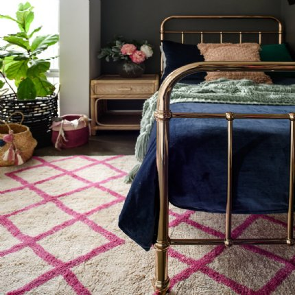 cotton berber rug - pink