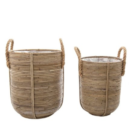 playa stripe baskets - set of 2