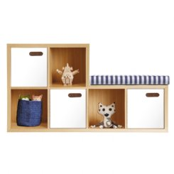 scoop bookcase nat & white - 6 cube