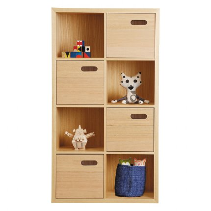 scoop bookcase 8 cube vertical - oak