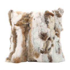 siberian fur cushion beige