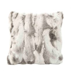 siberian fur cushion grey