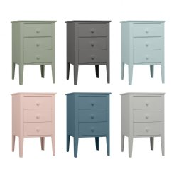 sleigh bedside table 3 drawers - colour options