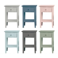 sleigh bedside table 1 drawer - colour options