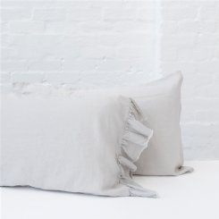 French Flax Linen Pillowcase Set - Soft grey