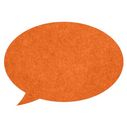 speech bubble pin board - orange