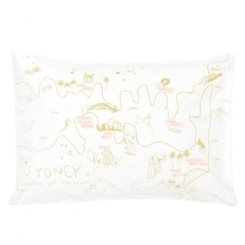 Sydney Map Pillowcase - Mustard & Pink