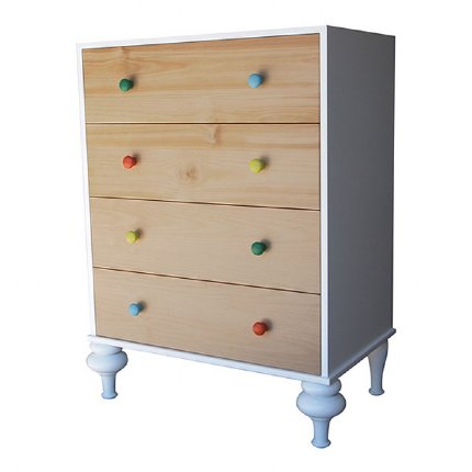 Florentine Chest of Drawers - White with Coloured handles
